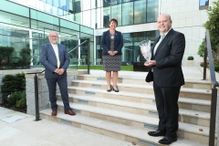 24/9/20 NO FEE AIB were awarded the Outstanding Achievement in Sustainable Business Impact at the Chambers Ireland Sustainable Business Impact Awards 2020, formerly the CSR Awards. The Awards were held online as a virtual ceremony for this year. Pictured at the AIB Corporate Headquarters upon presenting the award were Tadhg Lucey, Chief Operating Officer, BAM Ireland. Margaret Brennan, President, Chambers Ireland and Colin Hunt, Chief Executive Officer AIB. Picture:  Finbarr O'Rourke NO FEE RE EVENT